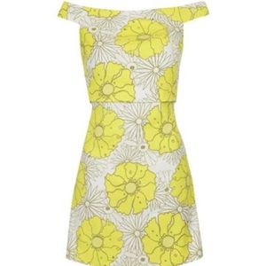 Topshop retro yellow floral dress